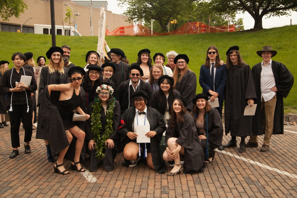 Interdisciplinary Sculpture students pose for a group photo.