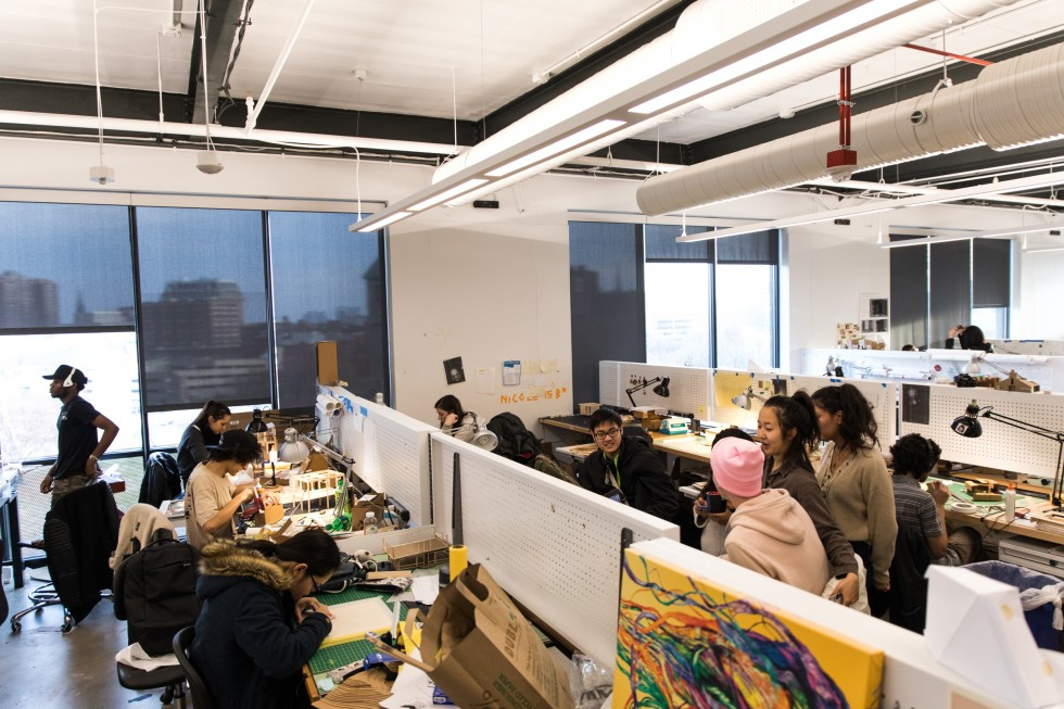 Inside a workspace for Architectural Design students