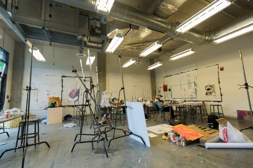 Students work in an open studio space in Leake Hall.