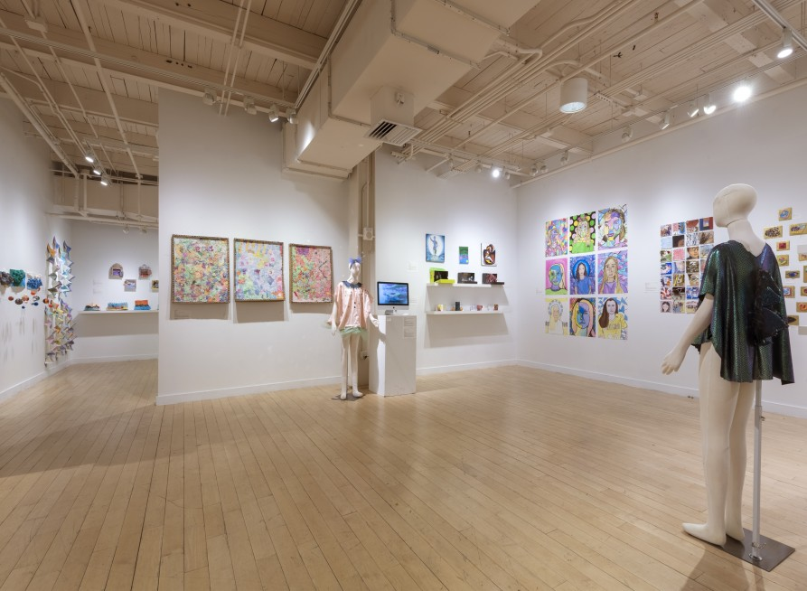 Gallery space filled with work from student who are in classes lead by M.A.T. candidates.
