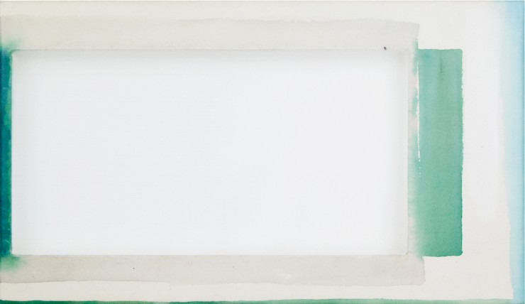 Abstract painting, a white rectangle on top of various green and white rectangles.
