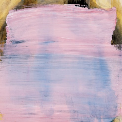 Abstract painting, light pink and white brushed across a blue and yellow background.