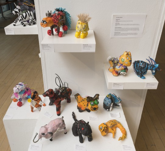 Small sculpted animals made by students in Courtney Payne's class.
