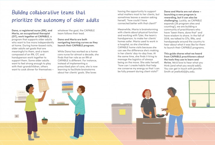 """Illustrated spread from the CAPABLE booklet that reads """"Building collaborative teams that prioritize the autonomy of older adults"""""""