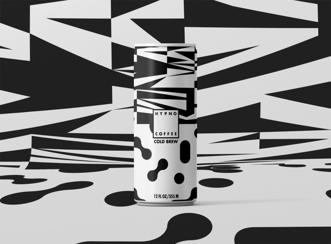 Tall coffee can with geometric black and white pattern. The same pattern is on the surface against which the can is photographed.