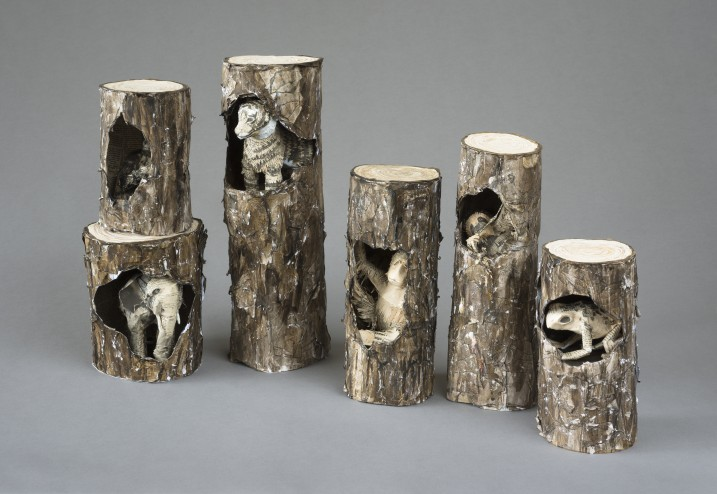 Sculpture of animals in trees by Sydney Lee