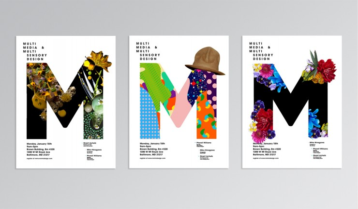 A set of three posters for the Multimedia and Multi Sensory Design conference. Each features a giant M with different sensory materials inside. The first contains paint and flowers, the second