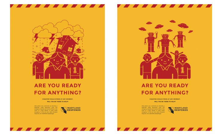 Mock ups of posters for Maryland Responds
