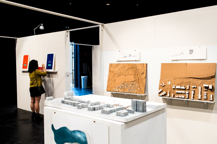 Exhibitions by Architectural Design students set up in BBOX