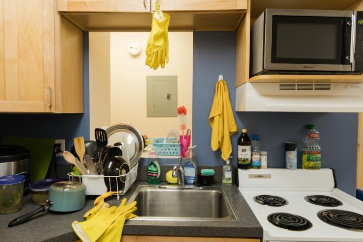 Kitchen in a Meyerhoff House apartment.