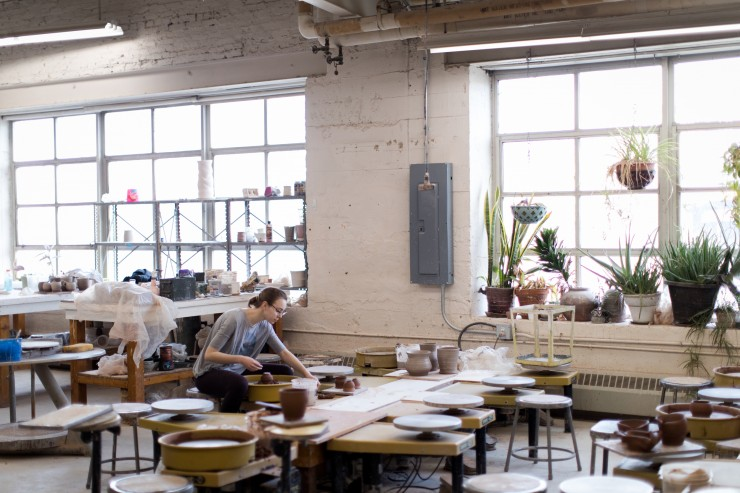 Inside the MICA Ceramics Studio in Fox Building