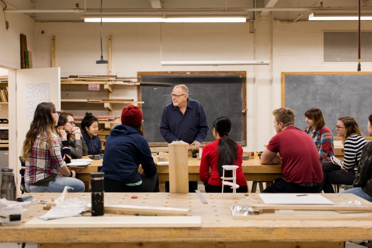 Class in the wood shop.