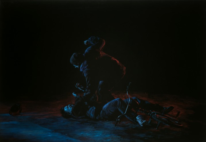 Painting on black velvet of two men fighting. One man has his fist raised and is sitting atop the other.