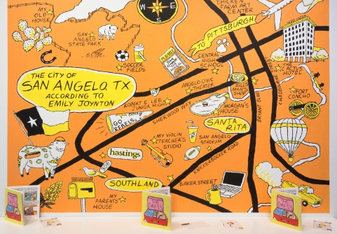 "Illustrated map with the title ""The City of San Angelo, TX According to Emily Joynton."" The map includes illustrated landmarks on a bright orange background."