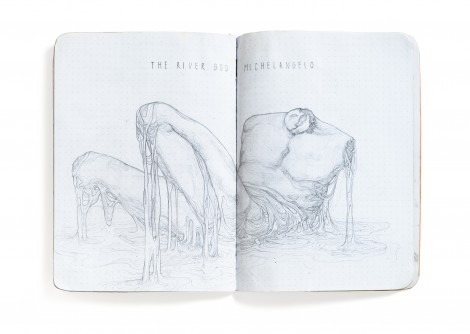 Open sketchbook featuring a pencil drawing of a marble sculpture without a head or arms melting into a puddle.
