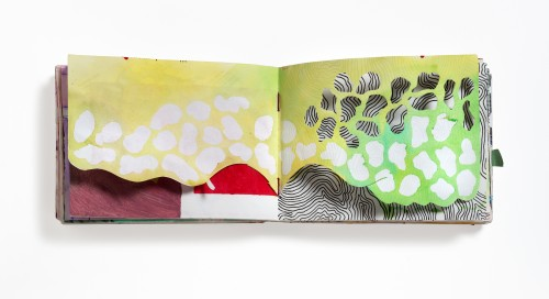 Open sketchbook. Portions of the top spread have been cut away to show a black and white patter beneath a simply painted top sheet.