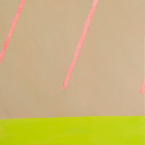 Slanted pink lines against a beige background. A neon yellow stripe runs along the bottom of the painting.