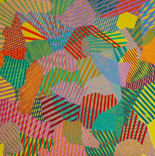 A patchwork drawing consisting of brightly colored, overlapping lines