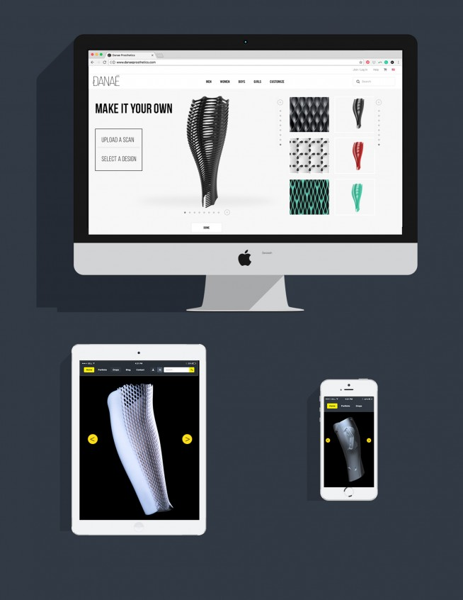 A mock up of the prosthetic design app on a computer, tablet, and phone.