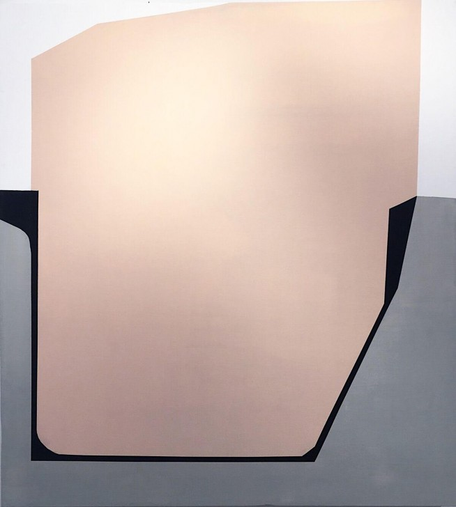Painting of a large pale pink polygon partially encased in a gray base.