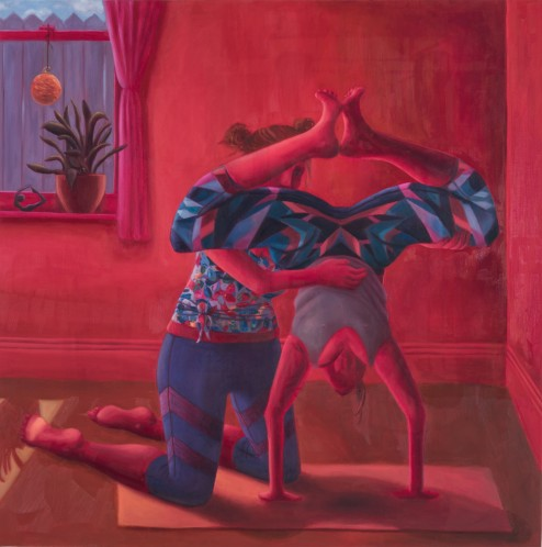 Painting of two people doing yoga.