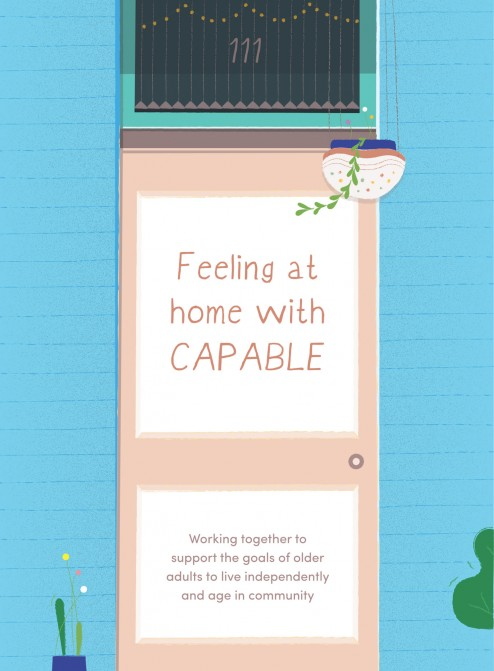 """Illustrated cover that reads """"Feeling at home with CAPABLE"""""""
