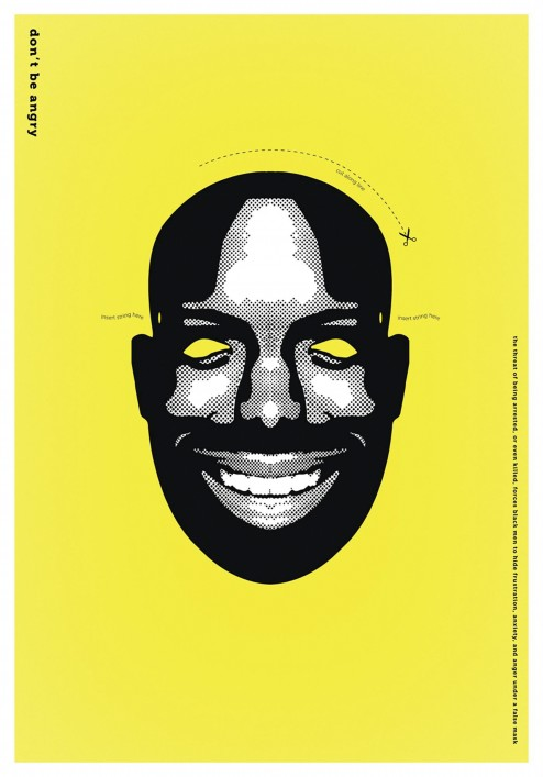 Cut out mask of an African-American man's face.