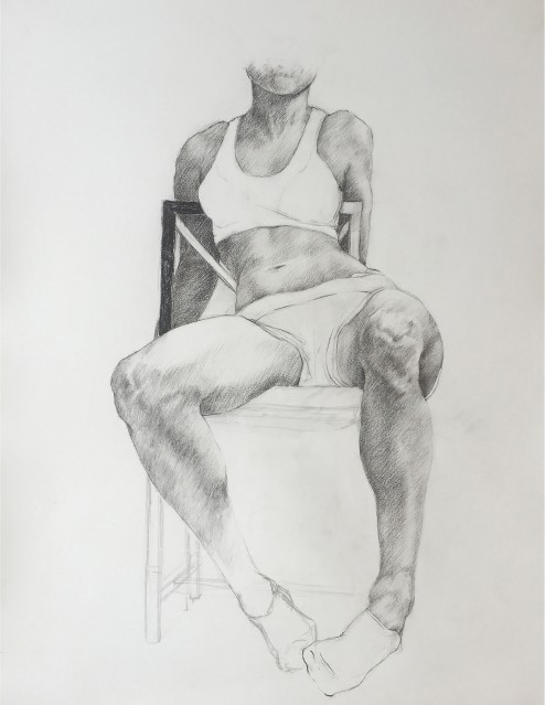 Charcoal drawing of a person sitting in a chair.