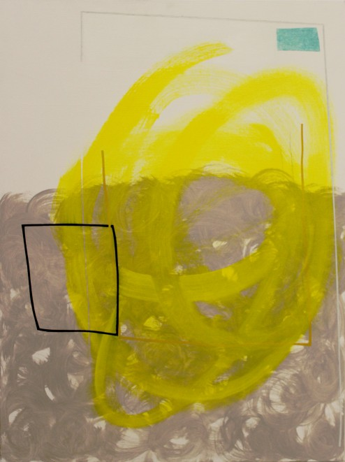 Abstract painting, a black square over yellow and beige swirls.