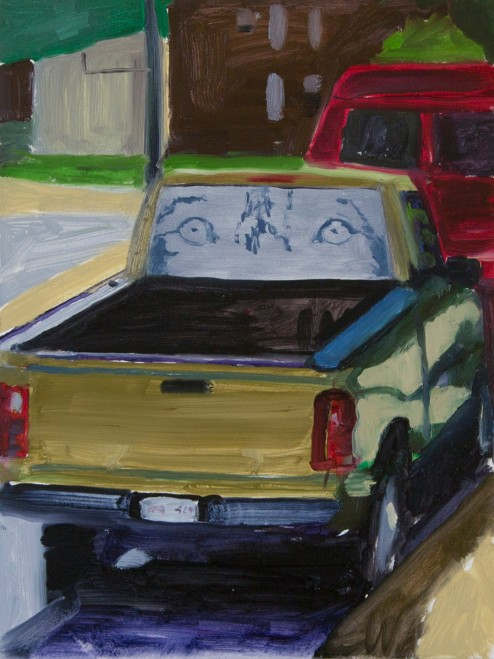 Painting of a truck with wolf eye decals on the back window.