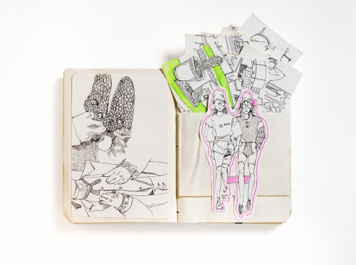 Open sketchbook with drawings reminiscent of a fashion spread. A drawing of two individuals on the right have been cut out so that cards with more drawings can be placed in the pocket behind them.