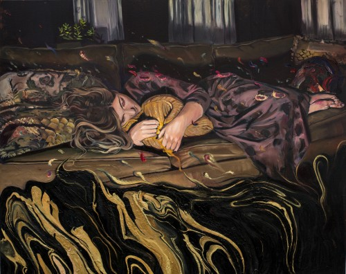 Meditating on the Sofa painting by Sarah Stoll
