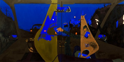 Abstract painting, triangular figures in the interior of a car at night.