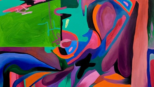 The Universe is Expanding , 60 x 36 inches, Oil and Flashe Paint on Canvas by Katherine Sepulveda