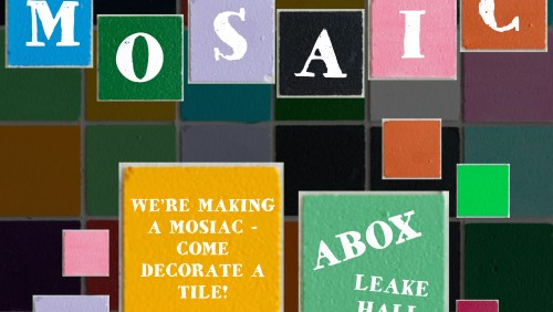 """Tiles background with letters spelling out """"MICA Mosaic"""". Multiple colored squares have text detailing the specifics of this event, such as time and location."""